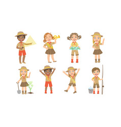 Cute kids scouts camping set cute boys and girls vector