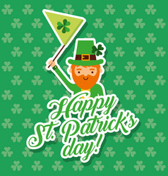 cute leprechaun waving flag st patrciks day vector image