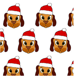 cute puppy in red christmas hat vector image
