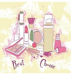Decorative stylish cosmetics and make-up vector
