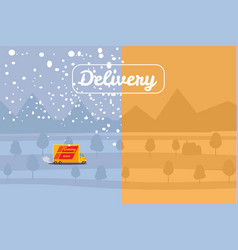 delivery truck rides on the snow-covered road and vector image