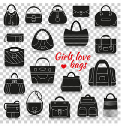 Different women bags silhouette icons with vector