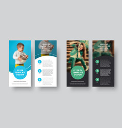 dl flyer design with blue and green circle and vector image