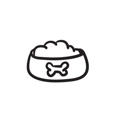 Dog bowl with food sketch icon vector