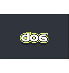 Dog word text logo design green blue white vector