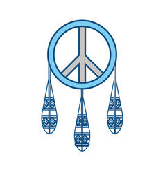 dreamcatcher in hippie style icon vector image