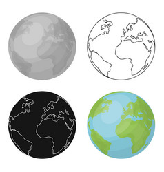 earth icon in outline style isolated on white vector image