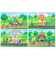 fast food kiosks beautiful nature cute landscape vector image