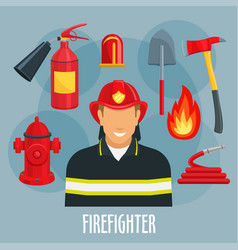 Firefighter profession icon of fireman in uniform vector