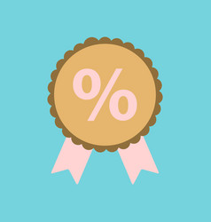 Flat icon of discount ribbon vector