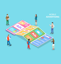 Flat isometric concept mobile vector