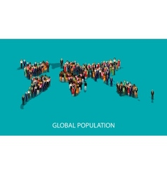 flat of people standing on the world global map vector image