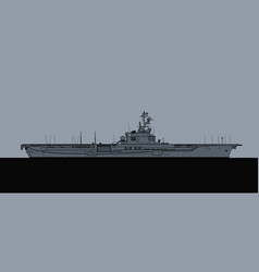 French navy clemenceau-class aircraft carrier vector