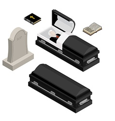 Funeral set Dead man in coffin Open black casket vector image