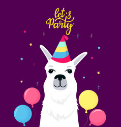 Funny alpaca in a striped hat lets party hand vector