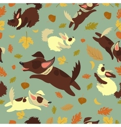 Funny dogs playing with autumn leaves vector image