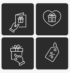 gift box icon set on black background vector image