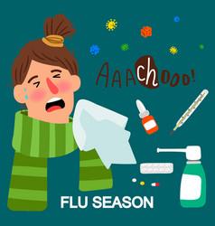 girl and medicines flue season vector image