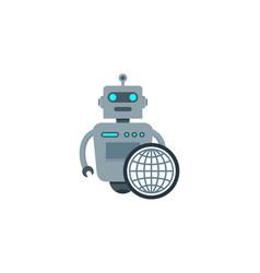 globe robot logo icon design vector image