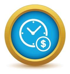 Gold clock money icon vector image