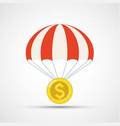 Gold dollar coin is falling parachute vector