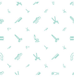 Hairdresser icons pattern seamless white vector