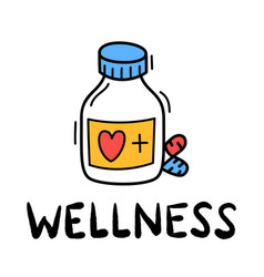 Hand draw doodle wellness medical pill icon vector