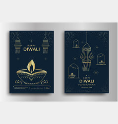 Happy diwali festival a greeting card design vector
