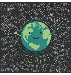 Happy Earth Earth smile Happy Earth Day 22 Apri vector image vector image