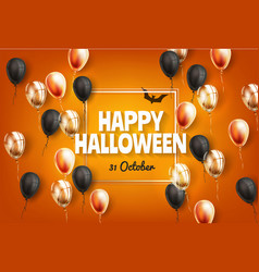 happy halloween holiday poster with balloon vector image