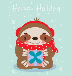 happy holidays card with sloth vector image