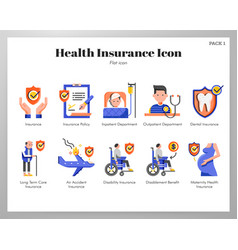 health insurance icons flat pack vector image