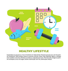 Healthy lifestyle concept banner template in flat vector