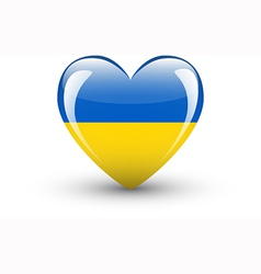 Heart-shaped icon with national flag ukraine vector