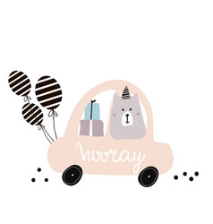 Hooray quote cute polar bear on cartoon car vector