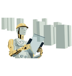 Humanoid robot construction worker vector