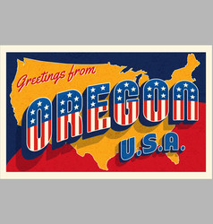 july 4th oregon usa retro travel postcard vector image