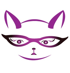 Kitty face with glasses vector