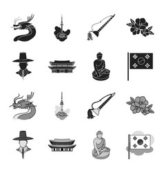 Korean in national headdress korean monastery vector