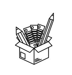 Line box with pencils and palettes inside vector