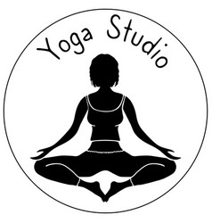 logo for yoga studio girl lotus pose vector image