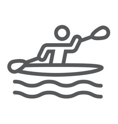 Man kayaking line icon sport and rowing canoeing vector