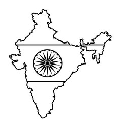 map india icon cartoon in black and white vector image