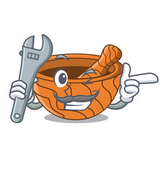 Mechanic wooden kitchen mortar isolated on mascot vector