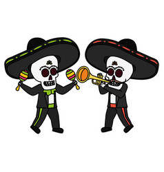 Mexican skulls mariachis playing trumpet and vector