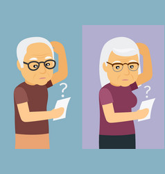 old man and woman thinking vector image