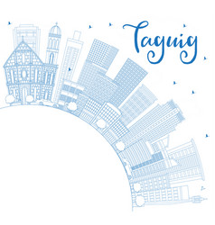 outline taguig philippines city skyline with blue vector image