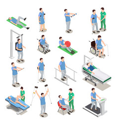 Physiotherapy isometric icons vector