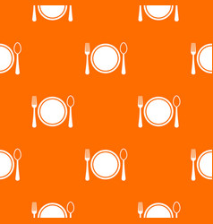 place setting with platespoon and fork pattern vector image