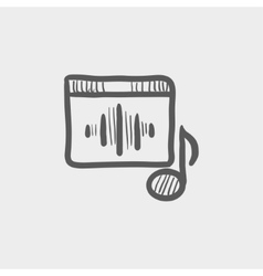 Radio retro sketch icon vector